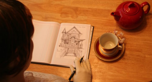 Gail Shoulder Notes Writer Victorian House
