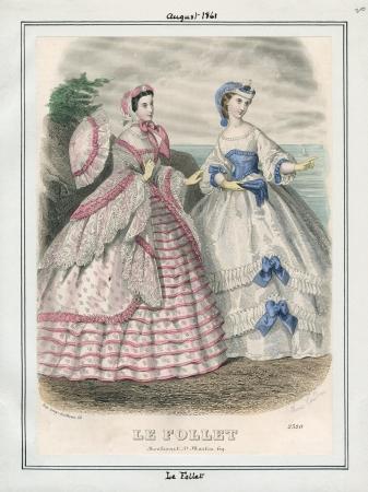 1861 Le Follet Parasol Pink Blue Swiss Waist Victorian