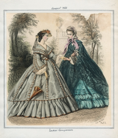 1862 Ladies' Companion August Parasol blue Teal Cloak Victorian