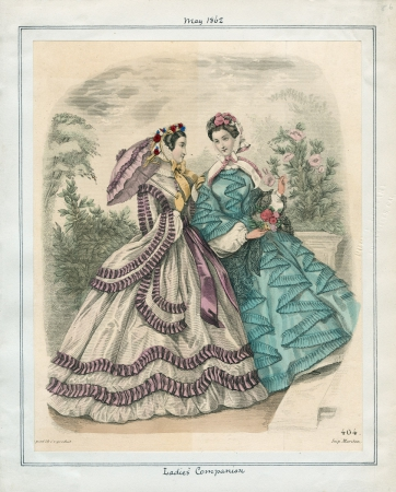 1862 Ladies' Companion May Parasol Teal Pink Trim Victorian