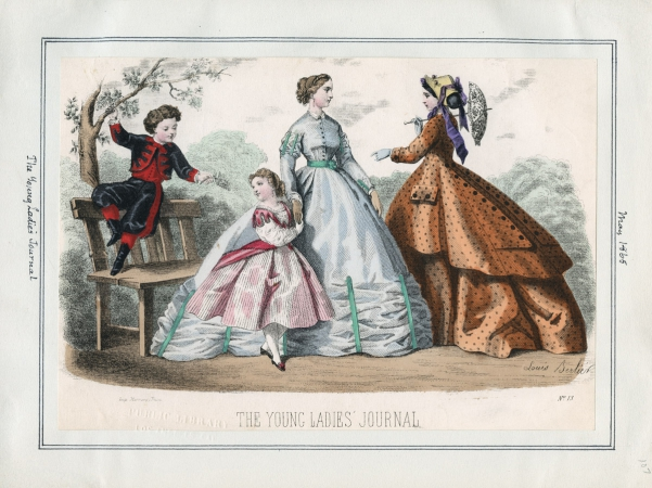 1865 The Young Ladies' Journal May 1, 1865 Parasol Orange Blue Children Victorian