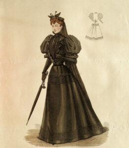 carolathhabsburg- Mourning attire. Fashion plate, circa 1894