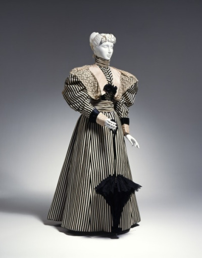 Day dress, 1895-96 parasol striped victorian