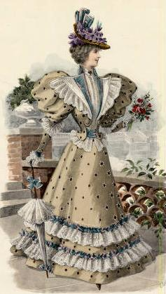 1896 Fashion plate via shewhoworshipscarlin parasol yellow victorian primrose