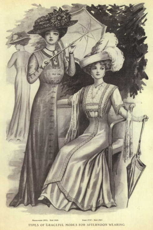 Fashion plate, 1909. vis she who worships carlin tumblr parasol