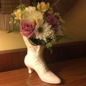 Flowers at teslacon Boot Gail Carriger pink purple white