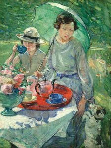 1925 Esther Borough Johnson (British artist, 1867-1949) Tea Table in the Garden