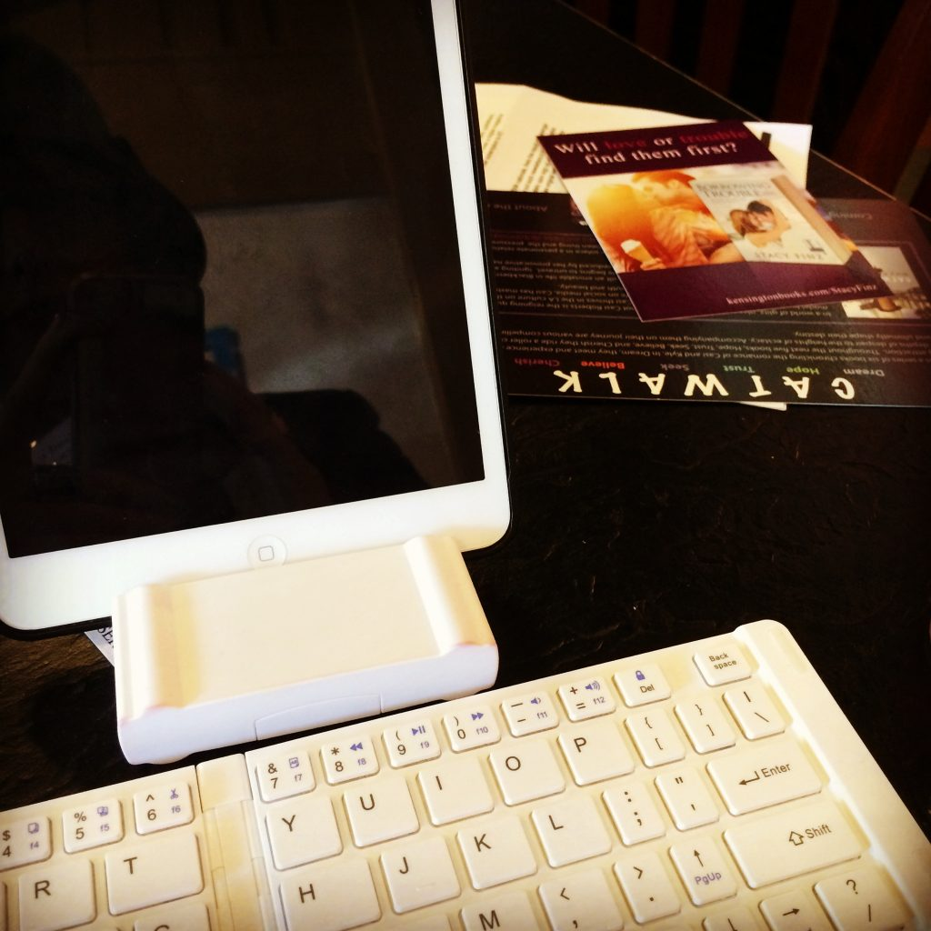 Gail Carriger On The Go Set Up: iPad Mini, bluetooth keyboard, scrivener iOS