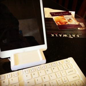 Gail Carriger On The Go Set Up: iPad Mini, blue tooth keyboard, scrivener iOS