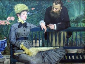 "1879 Édouard Manet was born #OnThisDay in 1832. Here's ""In the Conservatory"" from 1879"