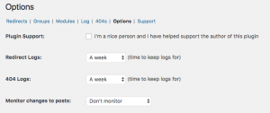 3. WOrdpress Plugin Redirection Settings