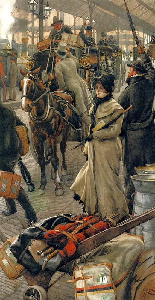 Departure Platform, Victoria Station (c. 1880), by James Tissot. (Photo- Wikiart.org) parasols victorian