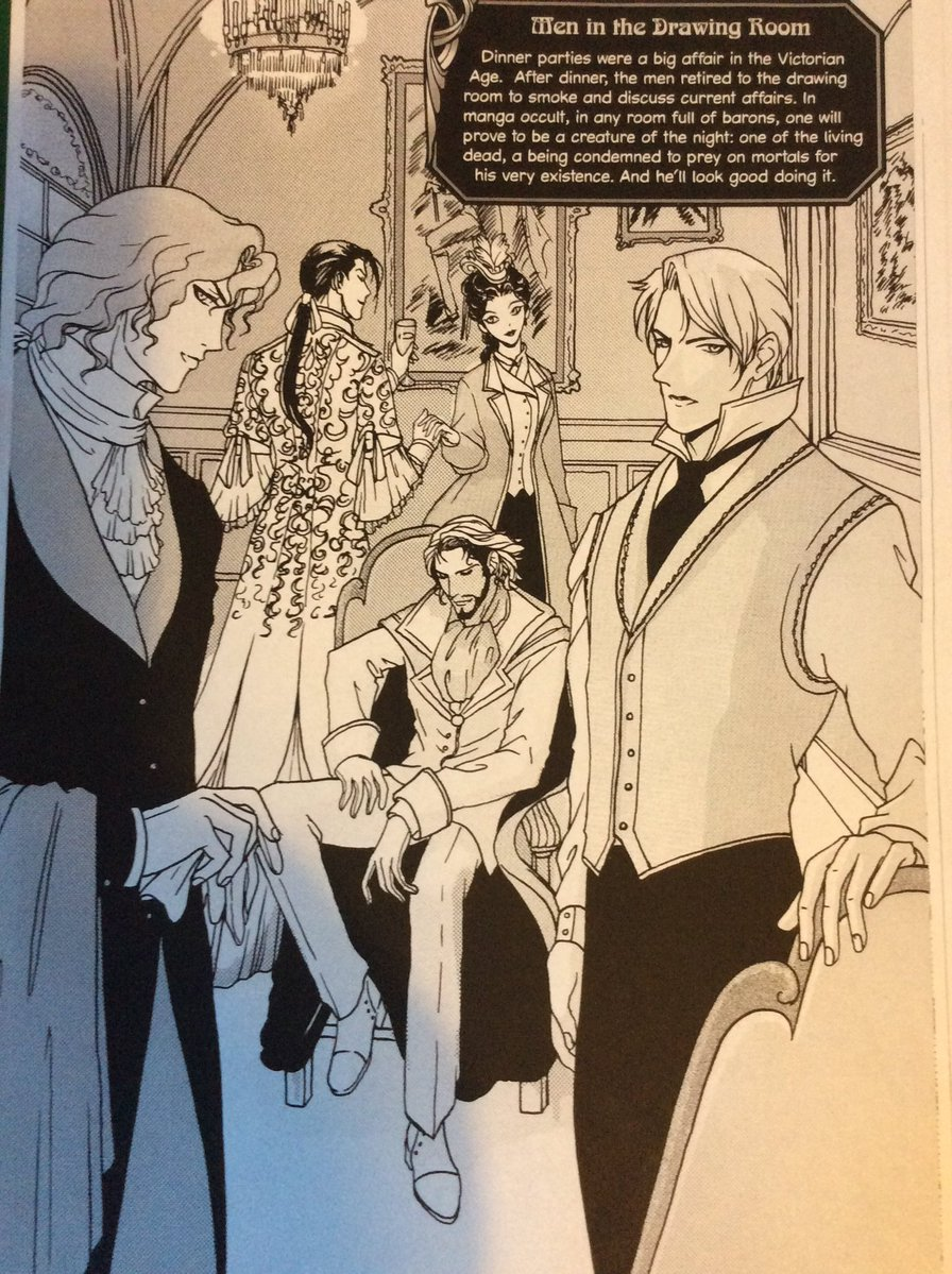 Gail Carriger Fan Art Christine @xenogsmith @gailcarriger -Lord Akeldama, Alexia, The Potentate, The Dewan and Lyall in the drawing room. (From a how to draw manga vampires book)