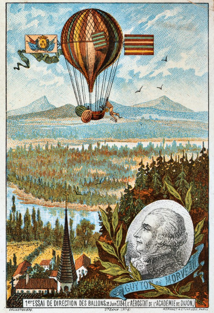 First attempt in a dirigible balloon, aerostat of the academy of Dijon (1784), early flight collecting card, ca. 1895
