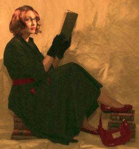 Gail Carriger Reads Book Red Black Long Hair