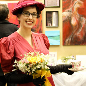 Gail Carriger Pink Dress 1930s Flowers Teacup Smile