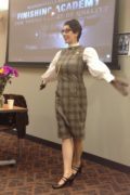 Gail Carriger Branding for Authors Presentation Slides Speaking Plaid Dress