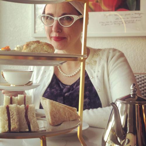 Gail Carriger Teacup Tea Tray Blue Purple Flower Dress White Cardy Turban