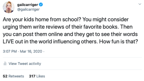 Gail Carriger Tweet Kids Do Reviews