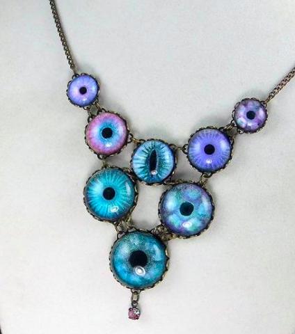 Hibernacula Brass Eye Eyeball Iris Necklace