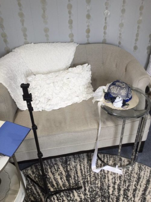 Office Behind the Scenes FB Live Blue Bonnet Hat Couch