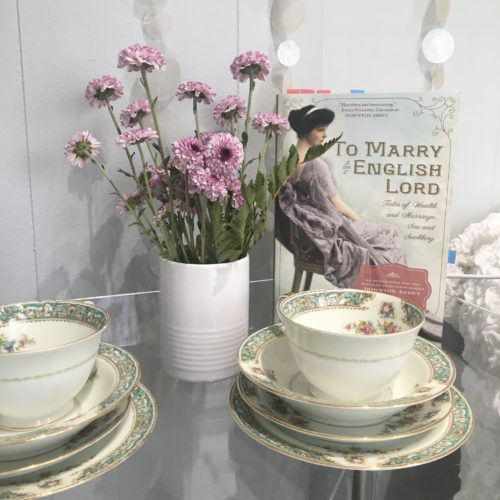 To Marry an English Lord Teacups Flowers lilac mauce green white cream office