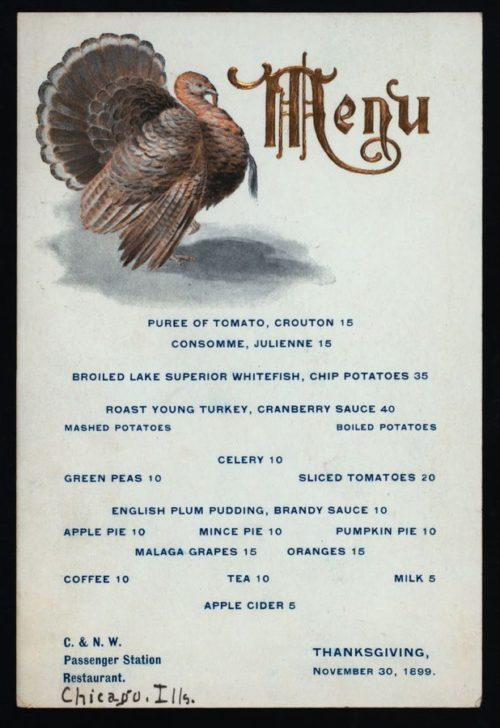 Victorian Thanksgiving Dinner 1899