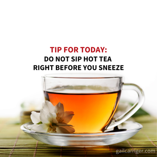 Gail Tip Don't Drink Tea and Sneeze Quote